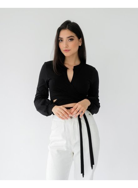 Crop Mimosa Time Wrap Top