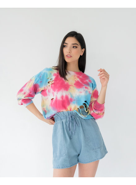 T-shirt Tie Dye Ripped Long Sleeve