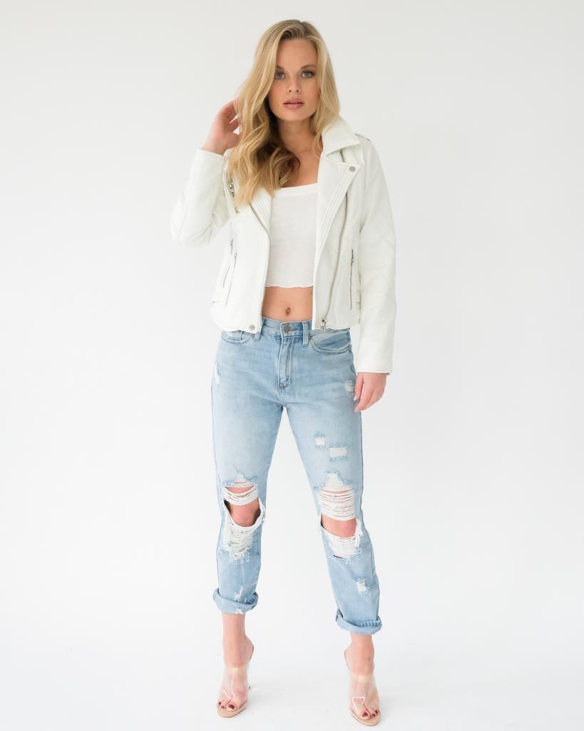 Lightweight White Moto Jacket