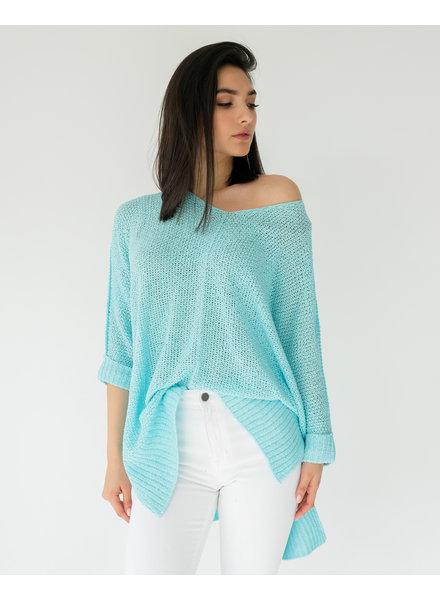 Sweater Aqua Cuff Knit