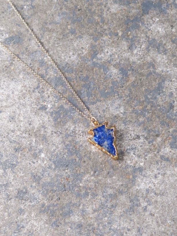Stone Marbled blue arrow necklace