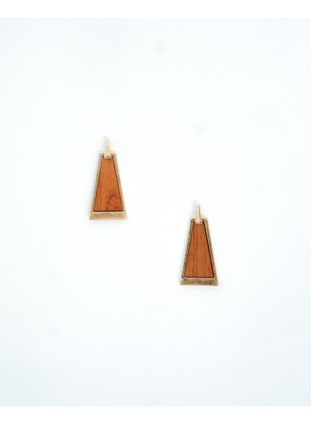 Trend Wooden Pyramid Earrings