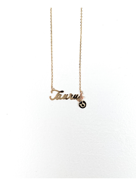 Gold Taurus Sign Necklace