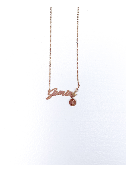 Gold Gemini Sign Necklace