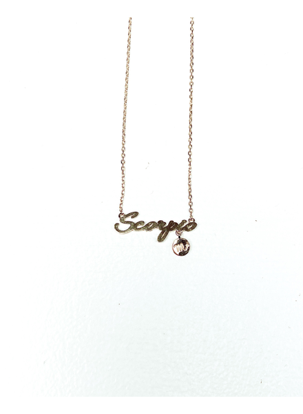 Gold Scorpio Sign Necklace