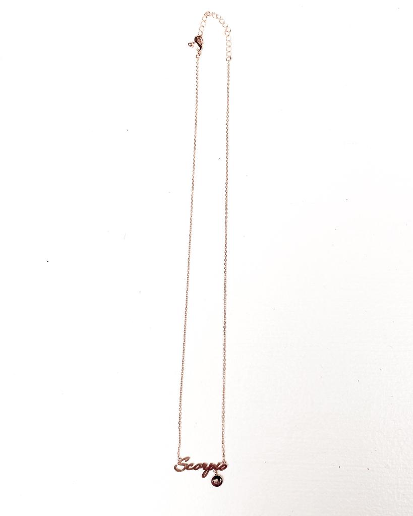 Gold Scorpio Sign Necklace