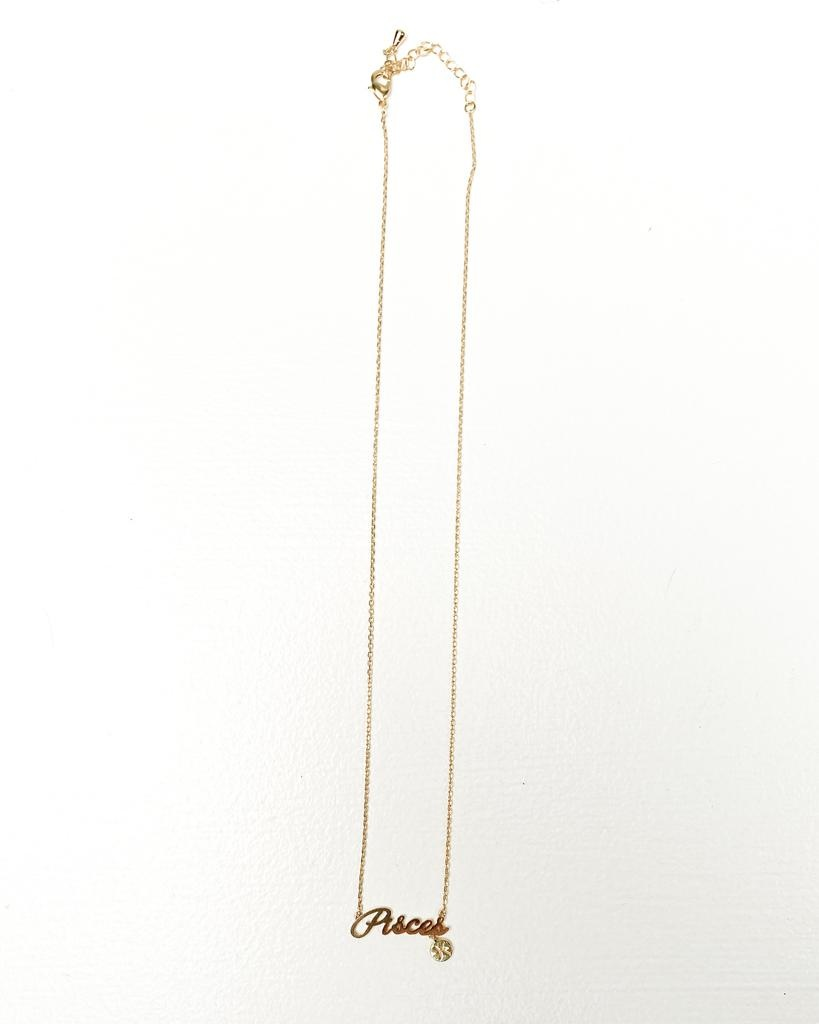 Gold Pisces Sign Necklace
