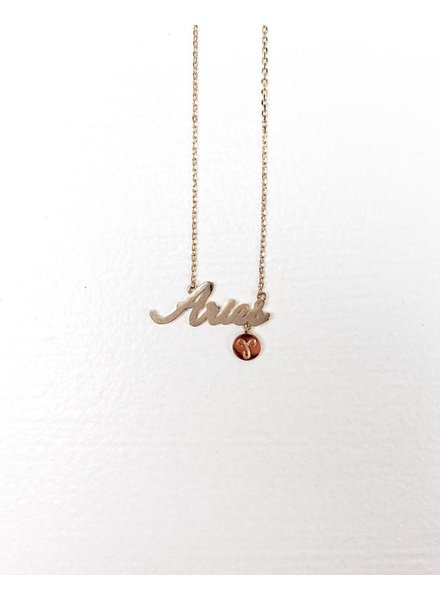 Gold Aries Sign Necklace