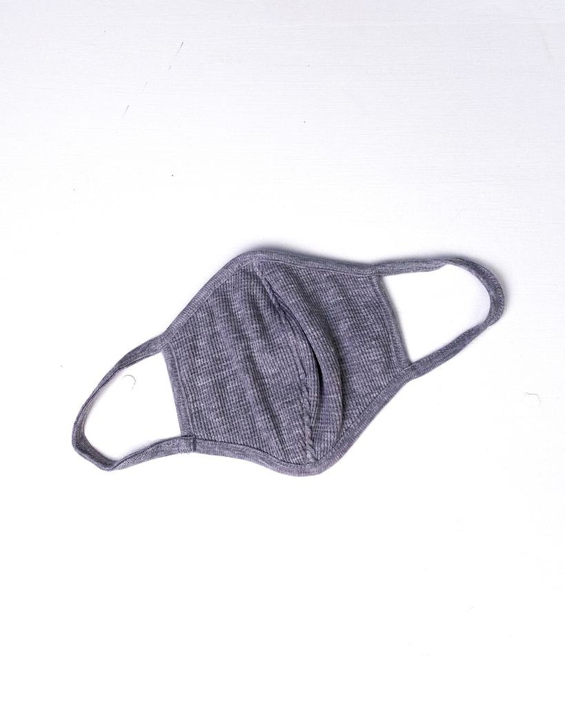Accessories Grey Waffle Knit Protective Face Mask