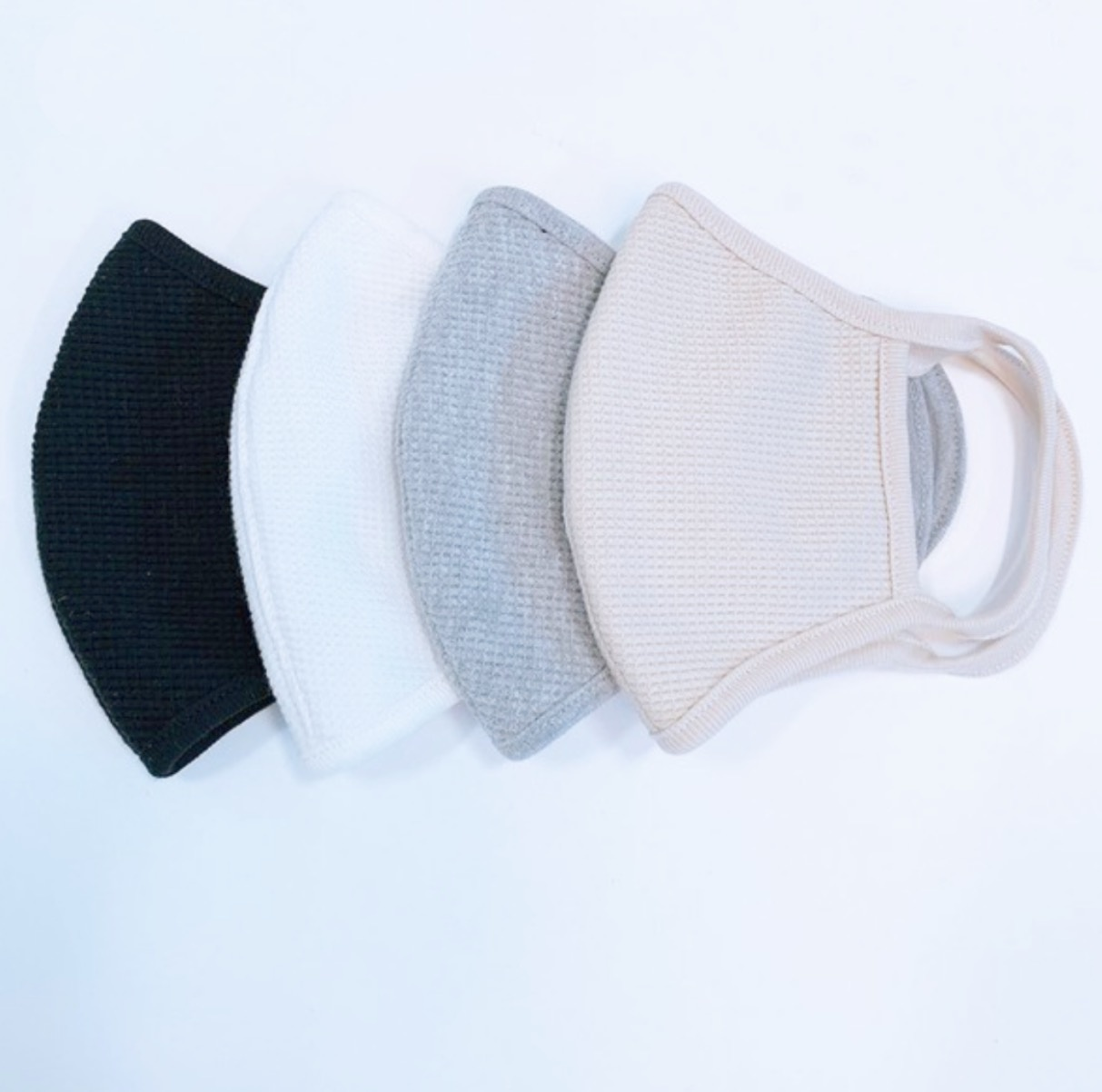 Accessories White Waffle Knit Protective Face Mask