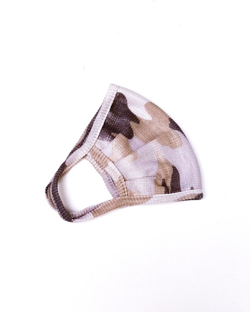Accessories Grey Camo Waffle Knit Protective Face Mask