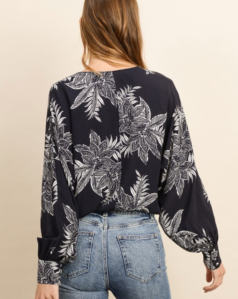 Blouse Navy Paisley Flower Child Blouse