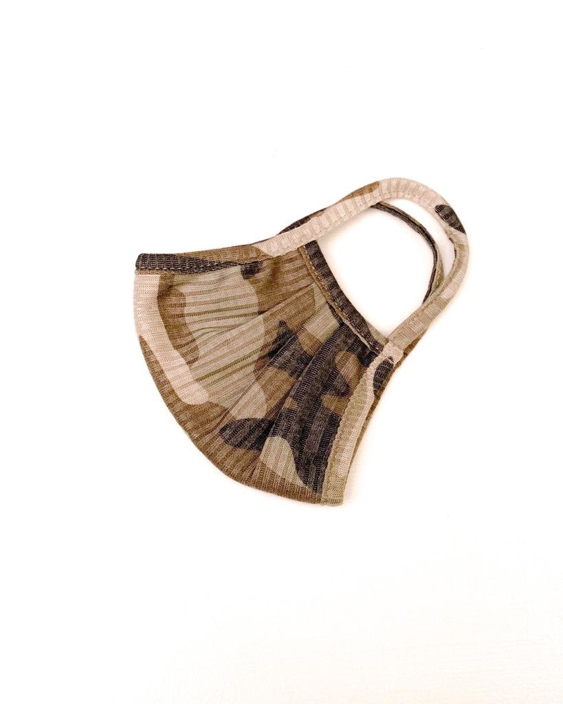 Accessories Ribbed Camo Knit Protective Face Mask