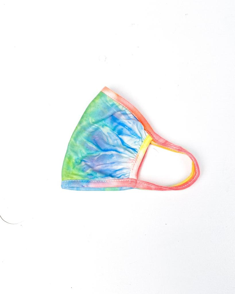 Accessories Ruched Neon Tie Dye Knit Protective Face Mask