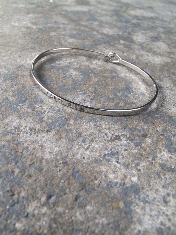 Silver Carpe diem bangle