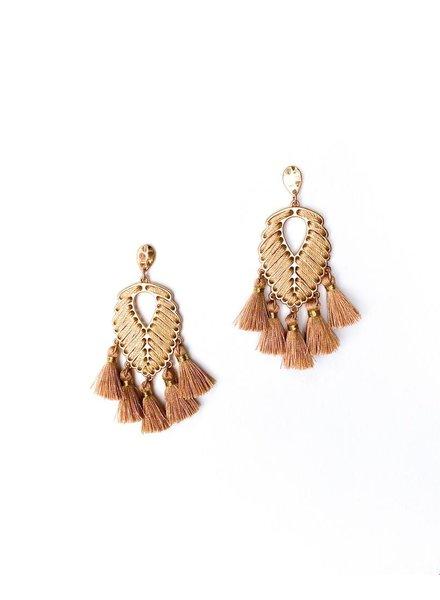 Dressy Golden Leaf Drop Tassel Earrings