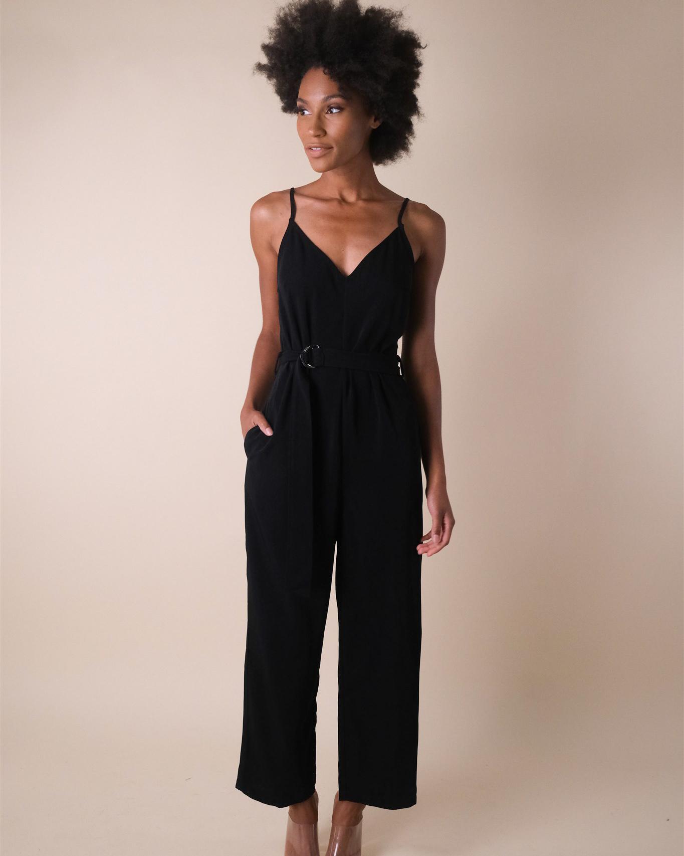 Dressy Black Buckle Jumpsuit