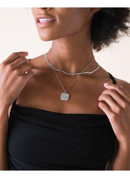 Silver Monica Square Pendant Necklace