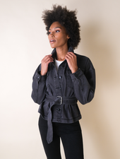 Lightweight Belted Denim Jacket