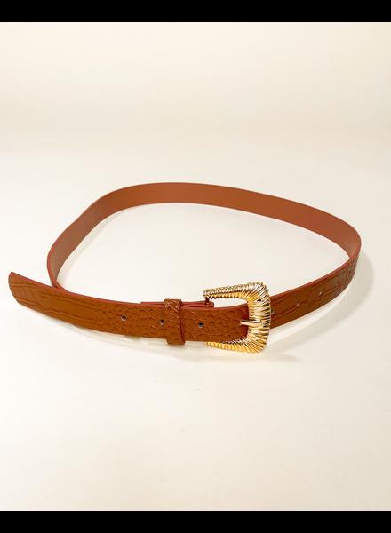 Belt Cognac Croc Belt