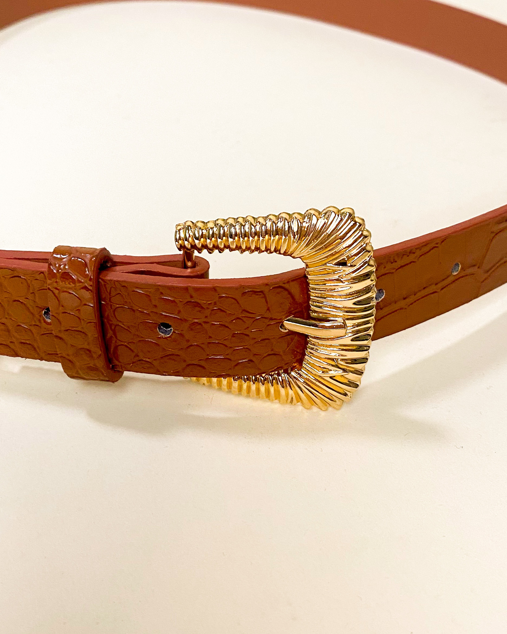 Belt Cognac Croc Belt