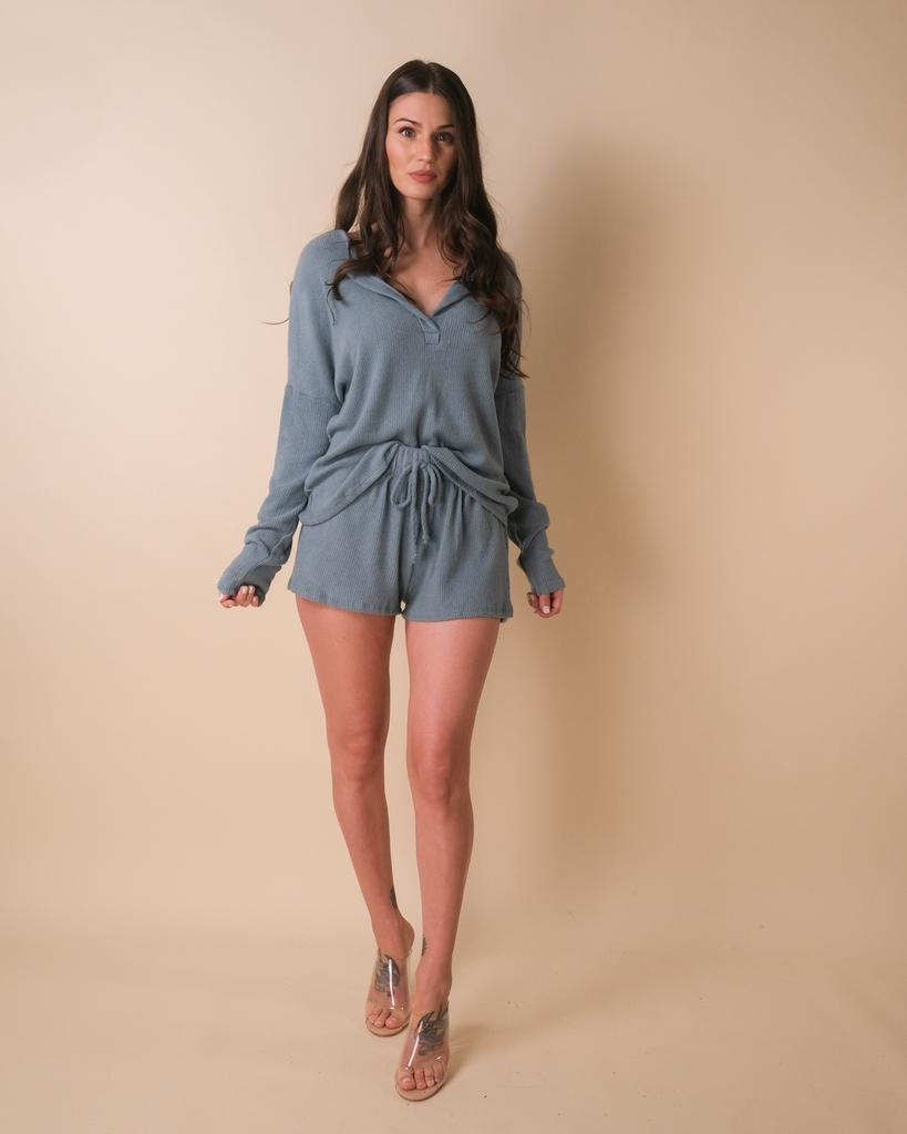 Knit Rather Be Napping Teal Shorts