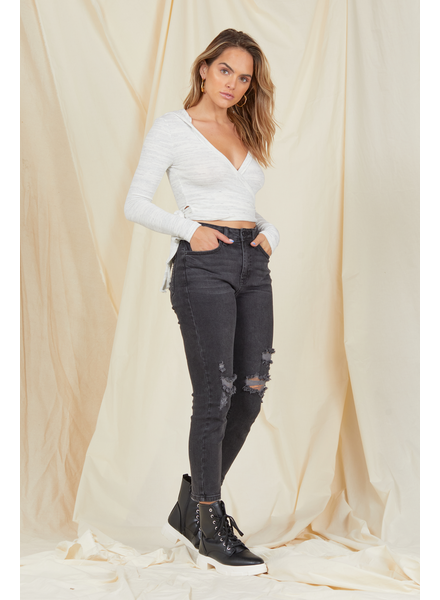 Jeans Distressed Straight Leg Jean