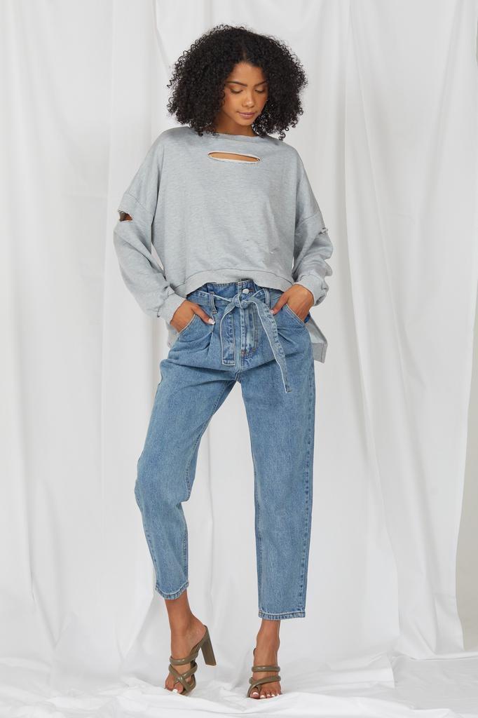 Knit Raw Talent Distressed Sweatshirt