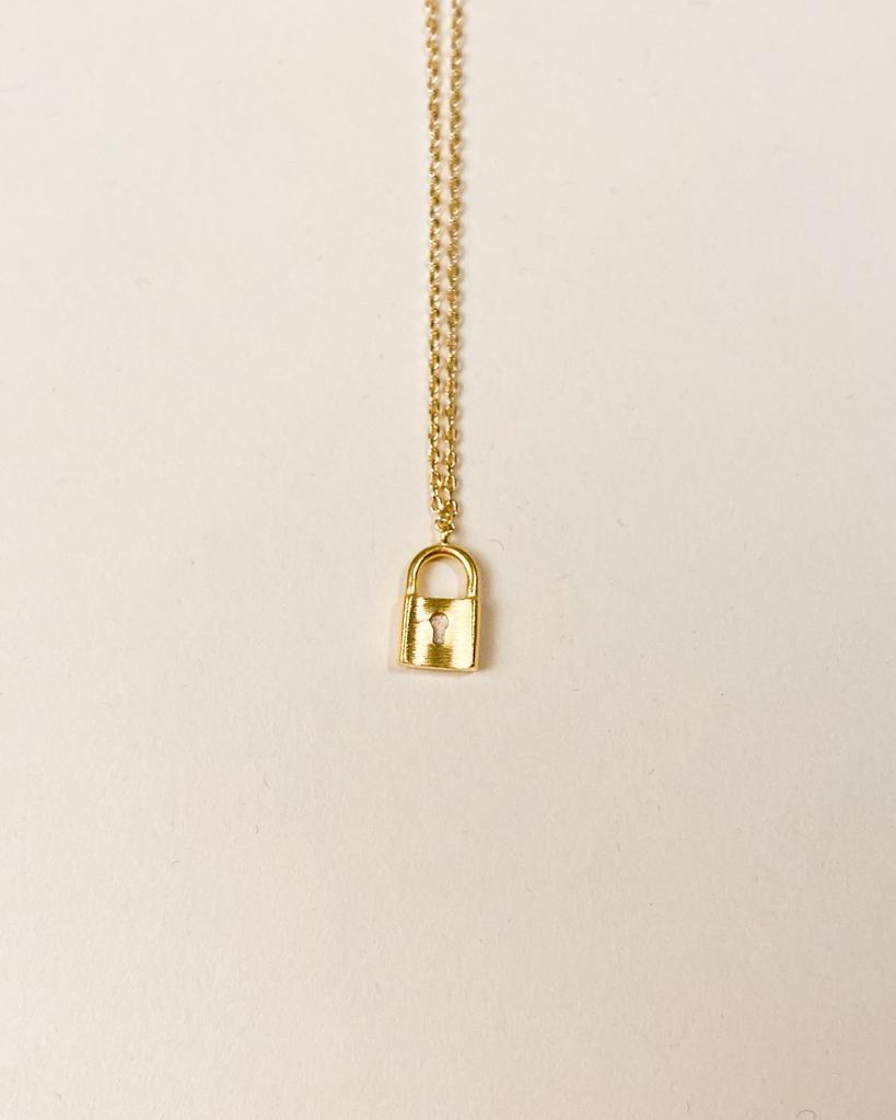 Gold Selena Lock Necklace
