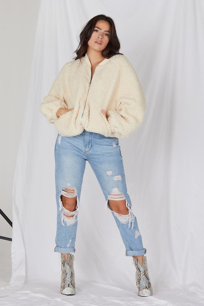 Lightweight Hot Cocoa Sherpa Bomber Jacket