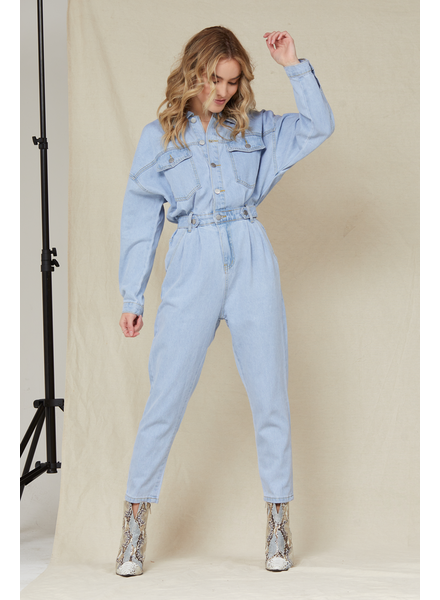 Jumpsuit Cute As A Button Denim Jumpsuit