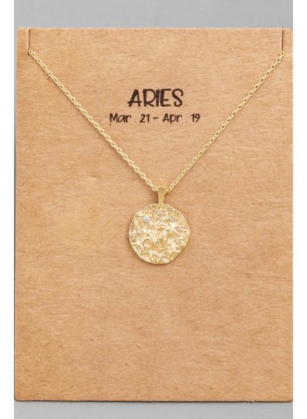 Gold Aries Coin Zodiac Necklace