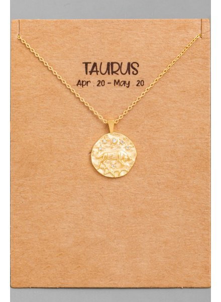 Gold Taurus Coin Zodiac Necklace