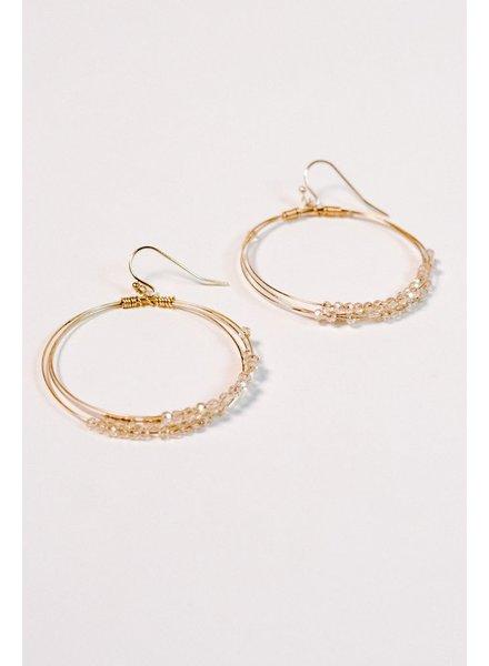 Gold Blush beaded gold hoop earring