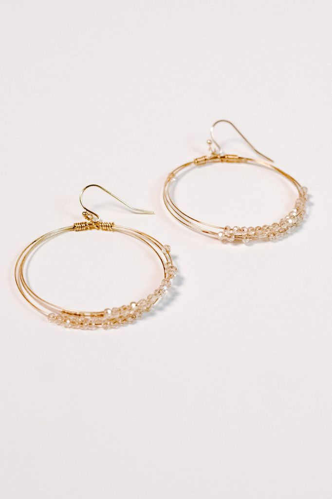 664479437b1 Gold Blush beaded gold hoop earring - Bobbles and Lace