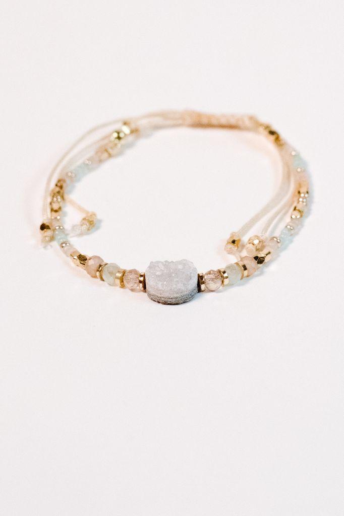 Stone Grey tone beaded bracelet