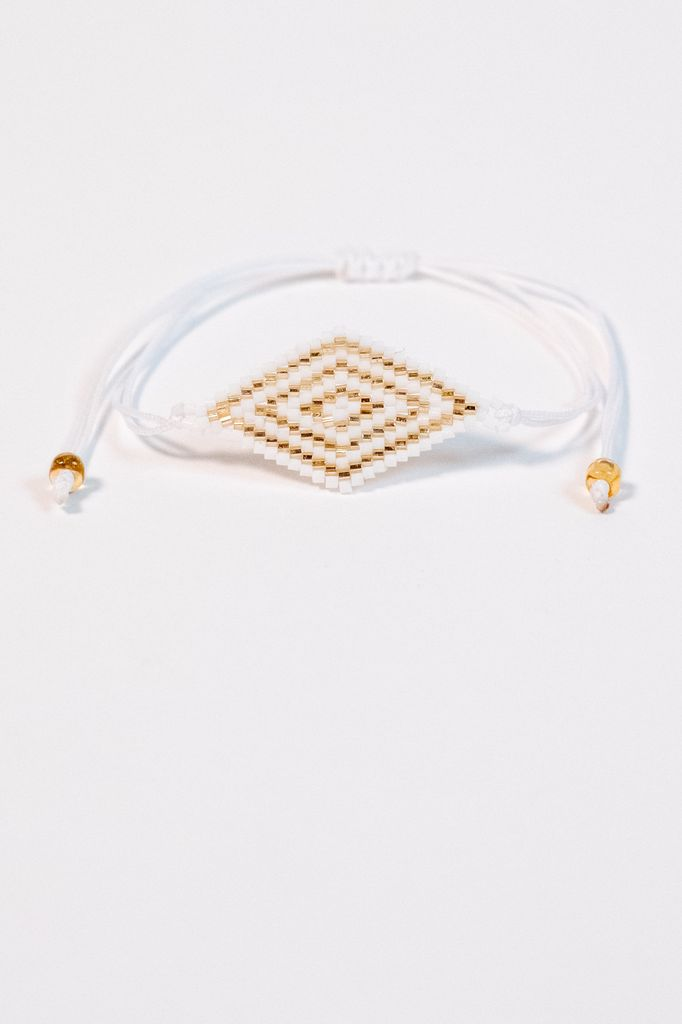 Trend White and gold beaded rope bracelet