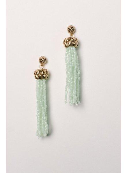 Trend Mint beaded knot tassel earring