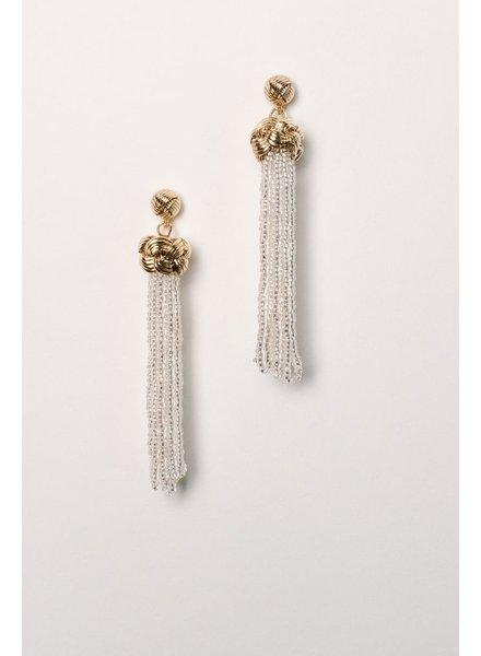 Trend Clear beaded knot tassel earring
