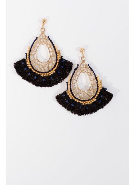 Trend Beaded black fringe earrings