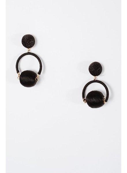 Trend Black swing ball earrings