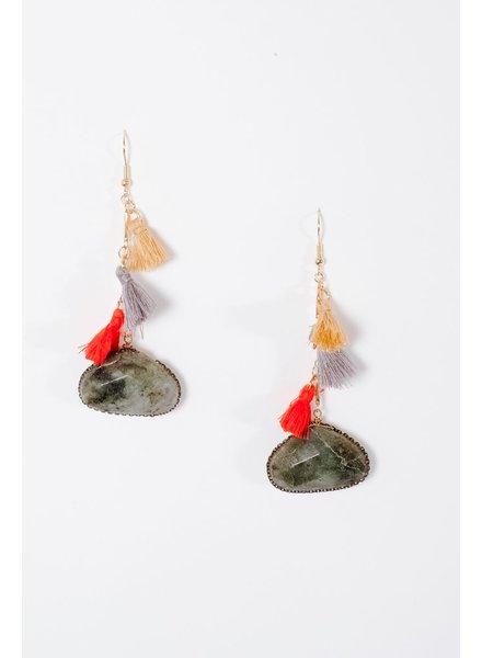 Trend Green drop stone tassel earrings