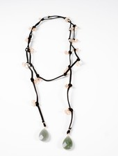 Long Black suede and stone wrap necklace