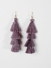 Trend Grey tier tassel earrings