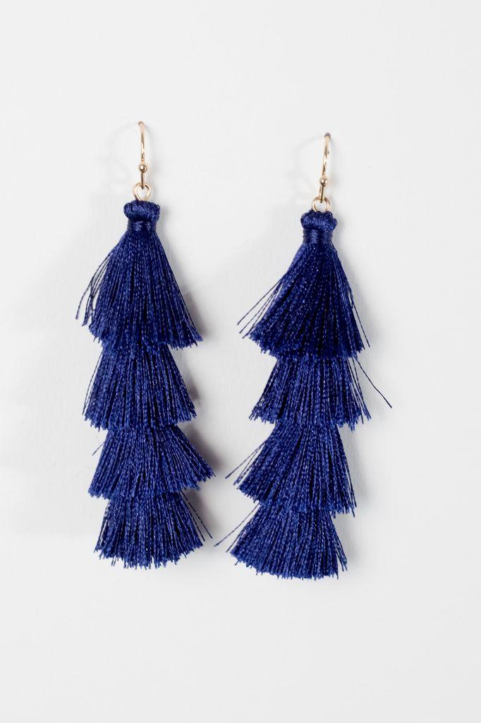 Trend Blue tier tassel earrings