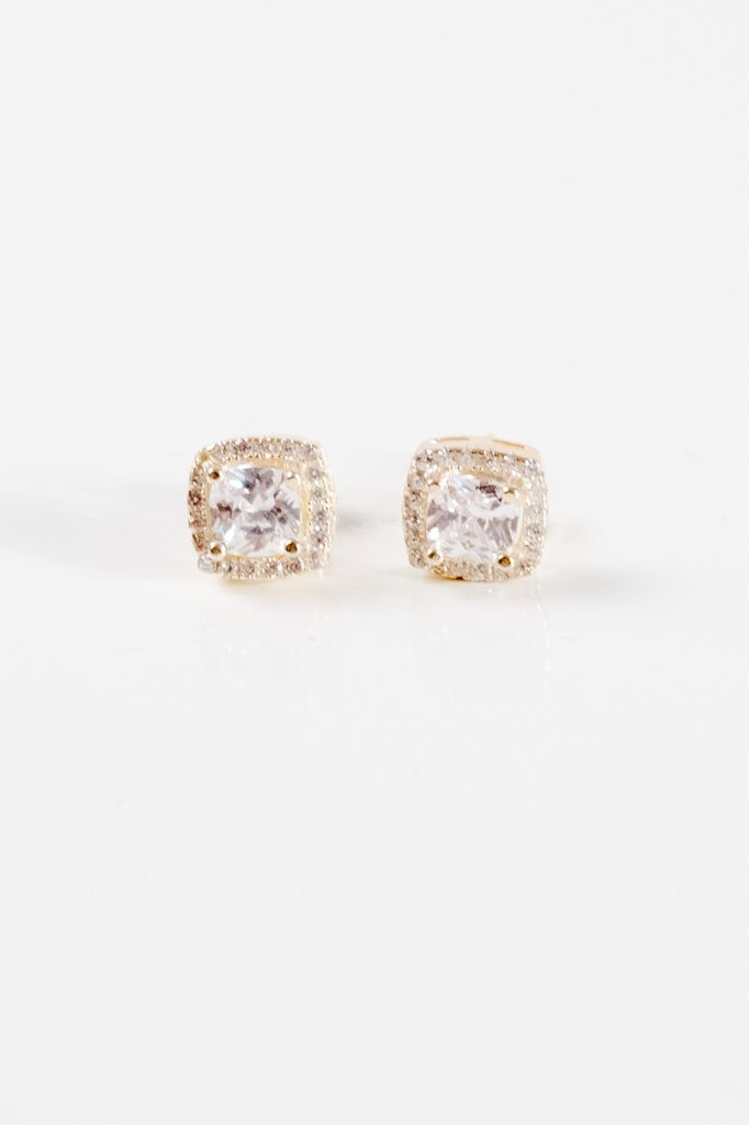 406136111 Stud Gold plated halo studs - Bobbles and Lace