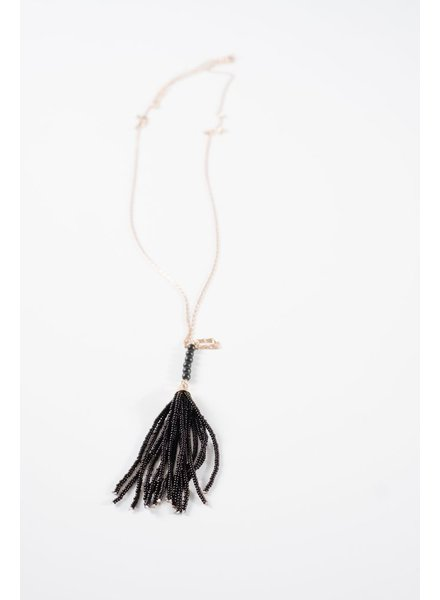 Trend Long beaded tassel necklace