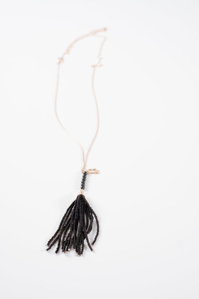 Trend Long beaded tassel necklace