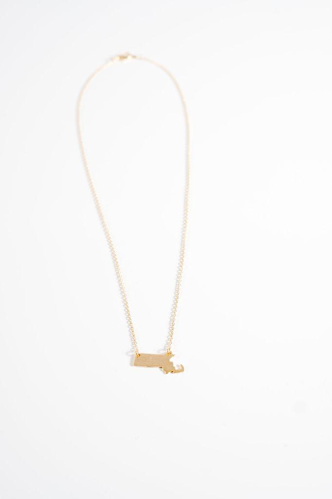 Gold Massachusetts goldtone necklace