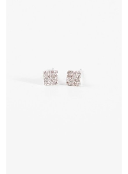 Sterling Sterling mini pave square studs
